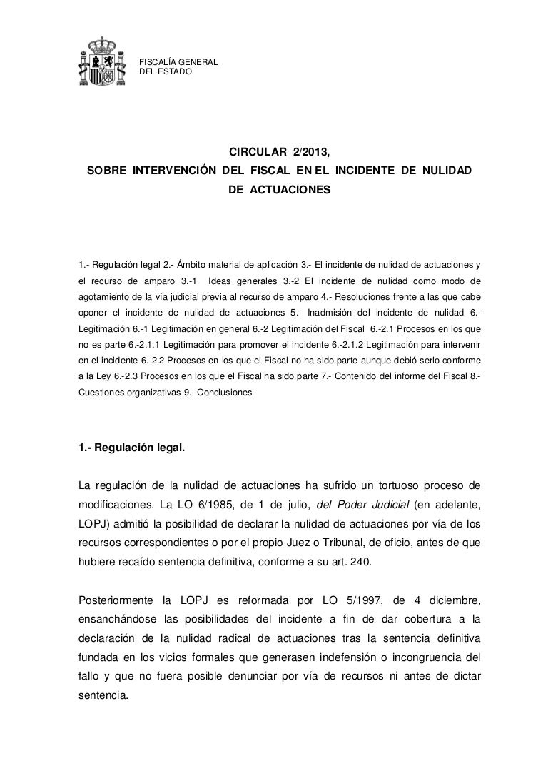 Circular 2 2013 intervencion del fiscal en el incidente de nulidad de…