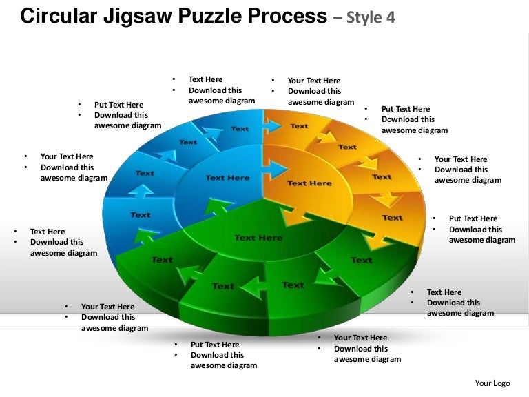 circular jigsaw puzzle process style 4 powerpoint templates. Black Bedroom Furniture Sets. Home Design Ideas
