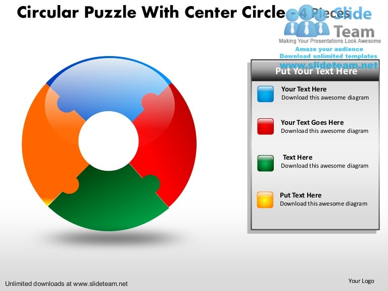 circular puzzle pie chart with center circle 4 pieces power point sli u2026