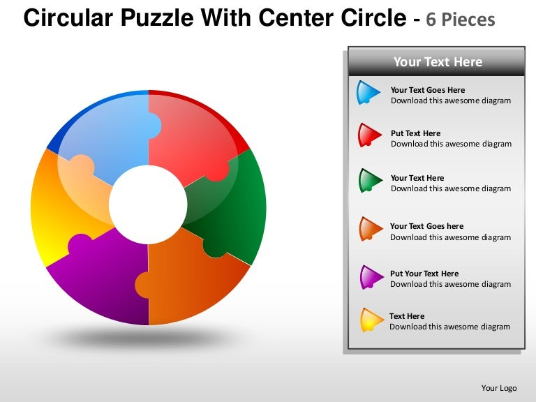 Circular Puzzle With Center 6 Powerpoint Presentation Templates