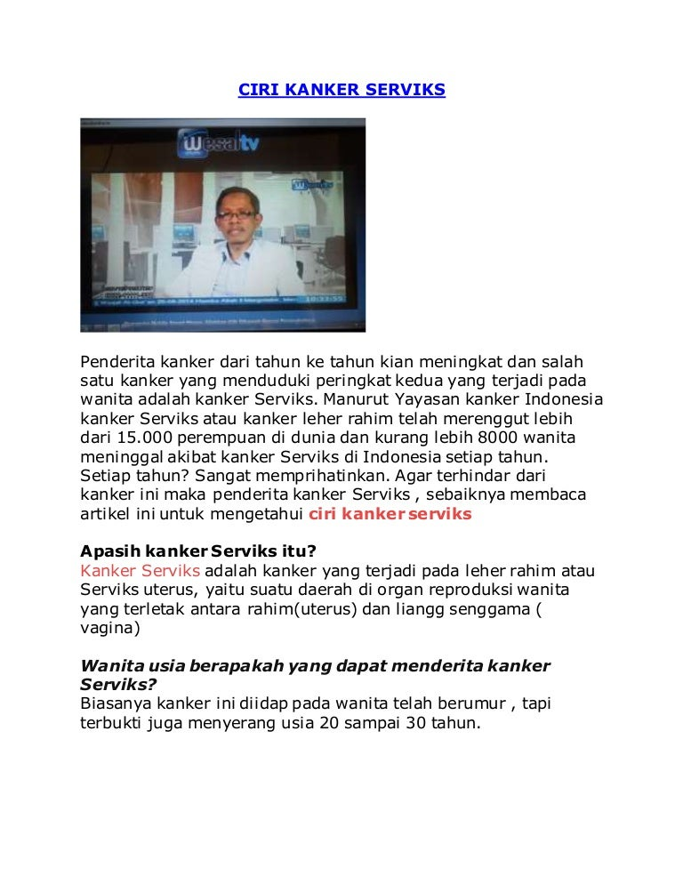 Ciri Kanker Serviks - AGEs Clinic Indonesia