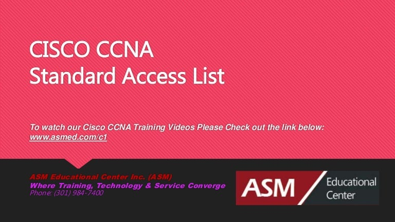 Cisco Ccna Standard Access List