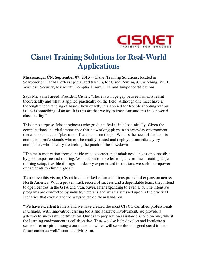 Cisnet Training Solutions For Real World Applications