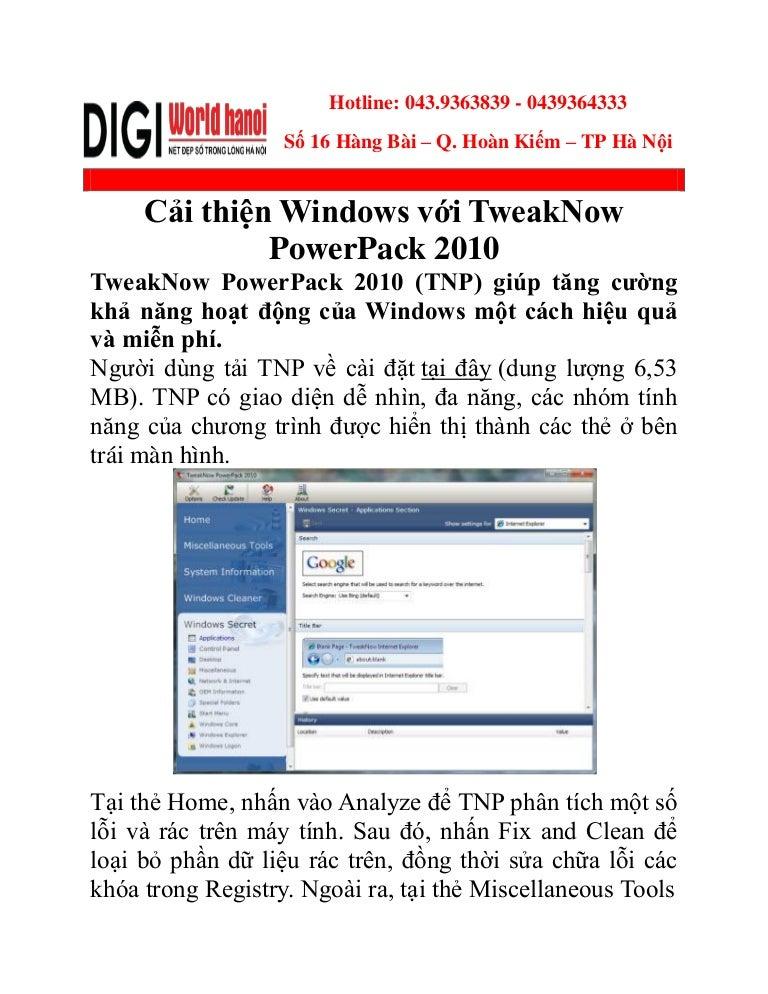 Cải thiện windows với tweak now powerpack 2010
