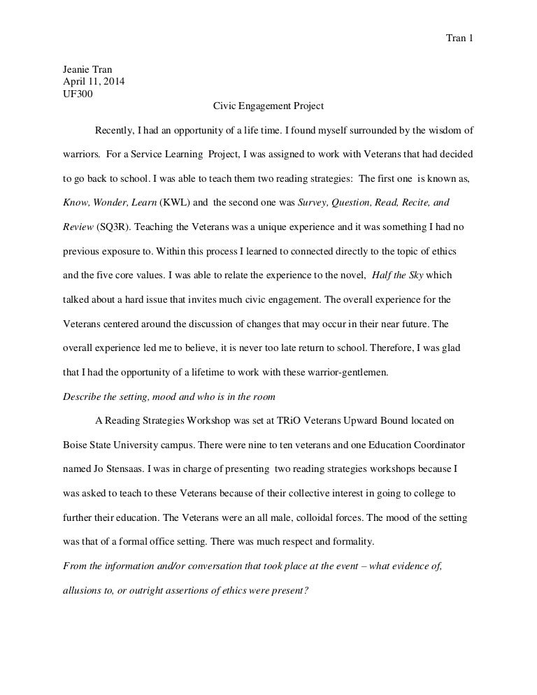 civic engagement project essay