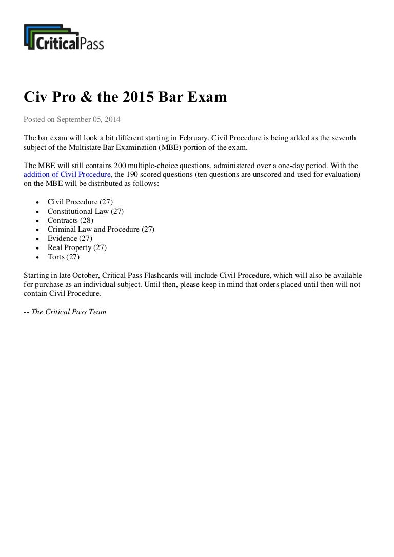 Civil Procedure and the the 2015 Bar Exam