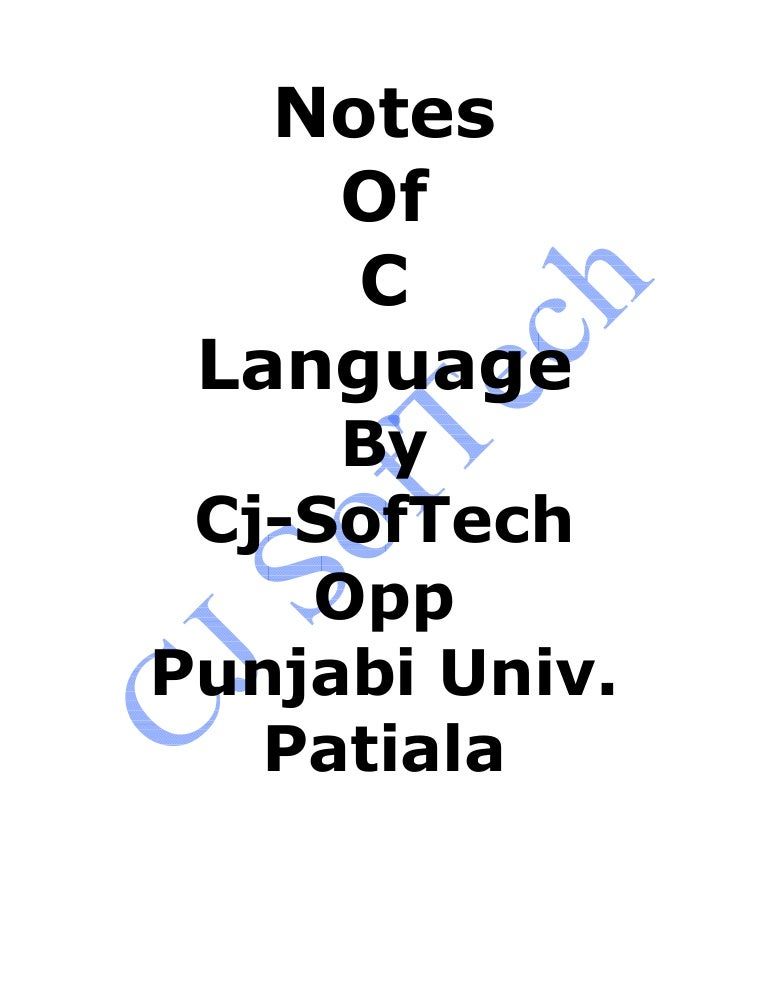best notes in c language for b