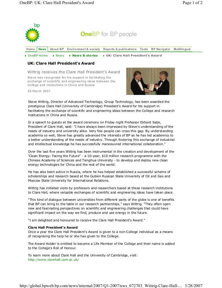 Clare hall presidents award one bp Cambridge university Wittrig