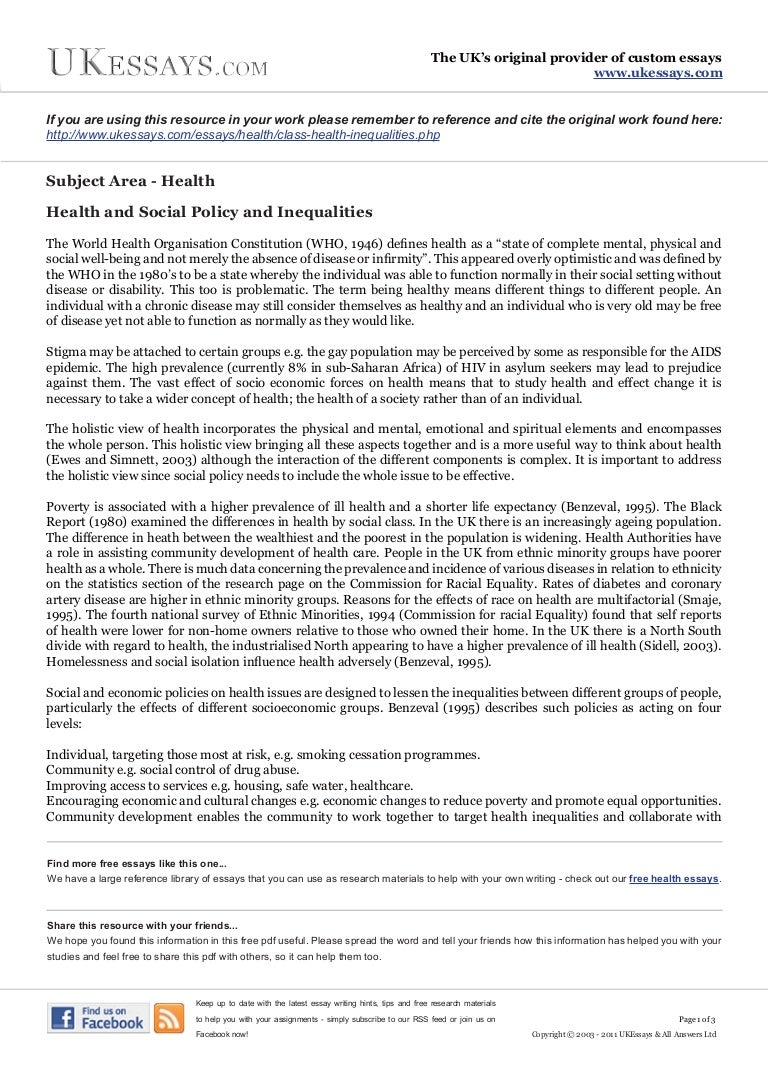 Health Essays - Class Health Inequalities
