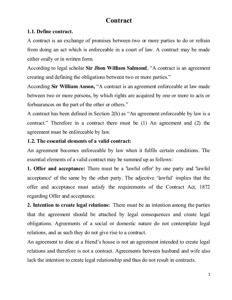 Class1 2contract – Contract Agreement Between Two Parties