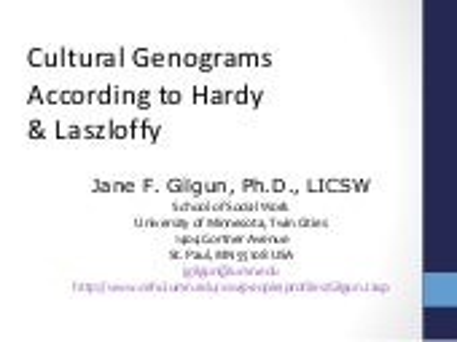 Doing a Cultural Genogram: Hardy & Laszloffy