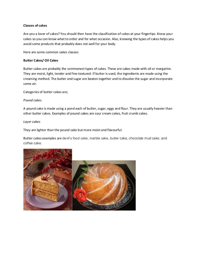 Types Of Cakes Butter Sponge And More