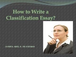Classification essay jadg