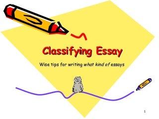 Classification essay (writing 3)