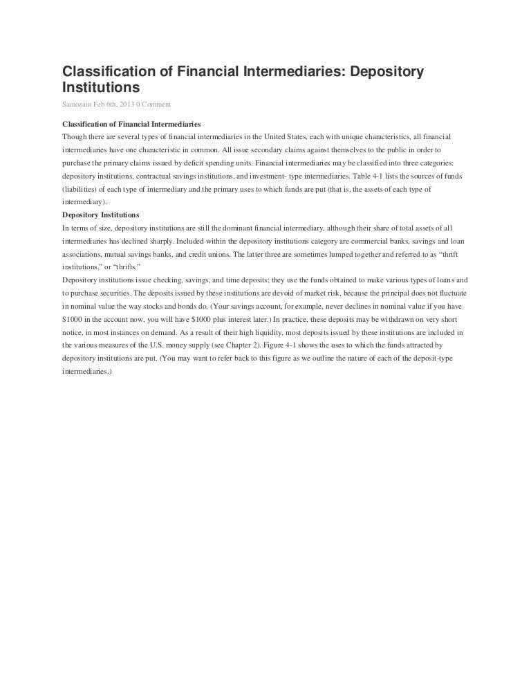Classification of financial intermediaries
