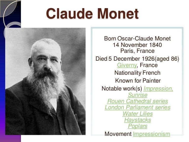 Claude monet for Biographie claude monet
