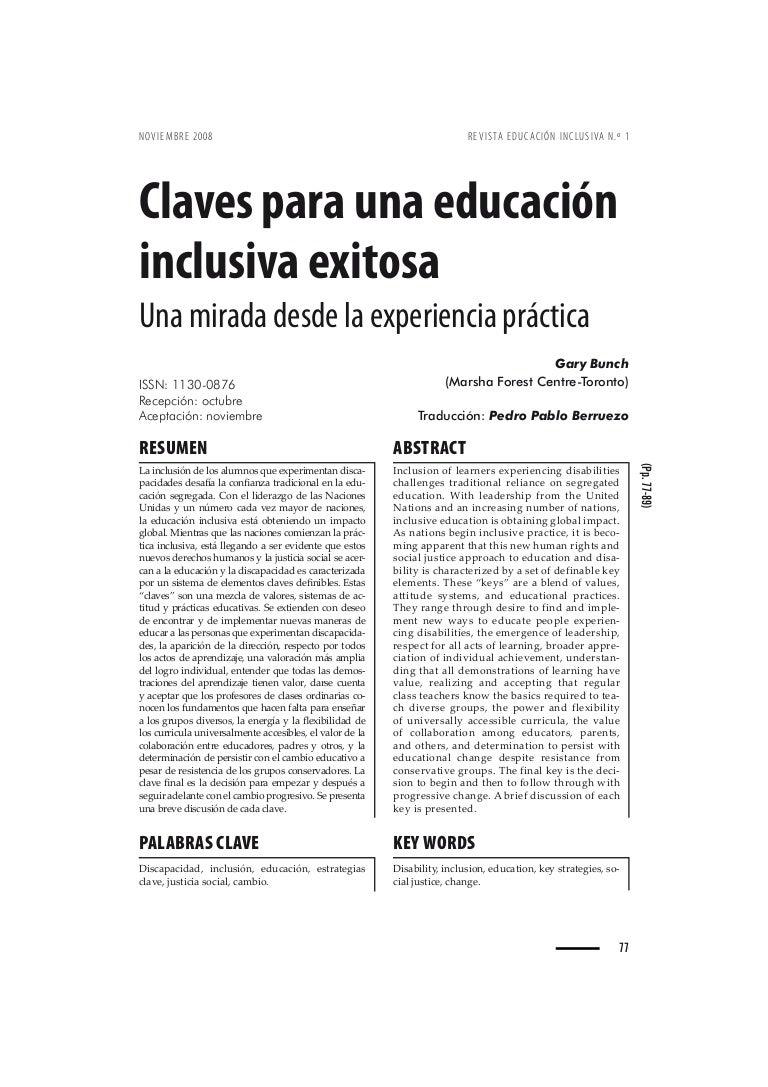 Claves para una educación inclusiva exitosa una mirada desde la expe…
