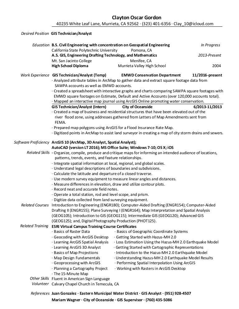 Gis Technician Resume Cover Letter - Contegri.com