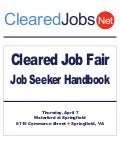 Cleared Job Fair Job Seeker Handbook April 7, 2011 Springfield, VA