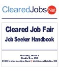 Cleared Job Fair Job Seeker Handbook March 1, 2012, BWI, MD