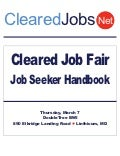 Cleared Job Fair Job Seeker Handbook March 7, 2013, BWI, MD