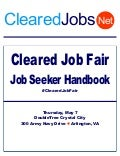 Cleared Job Fair Job Seeker Handbook May 7, 2015, Crystal City, Va