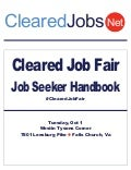 Cleared Job Fair Job Seeker Handbook Oct 1, 2013 Tysons Corner, Va