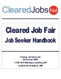 Cleared Job Fair Job Seeker Handbook Oct 26, 2012, BWI, MD