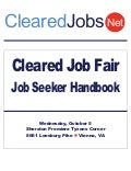 Cleared Job Fair Job Seeker Handbook October 5, 2011, Tysons Corner, VA