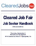 Cleared Job Fair Job Seeker Handbook Sept 4, 2014, Springfield, VA