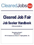 Cleared Job Fair Job Seeker Handbook Sept 5, 2013, Springfield, Va