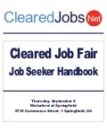 Cleared Job Fair Job Seeker Handbook Sept 6, 2012, Springfield, VA