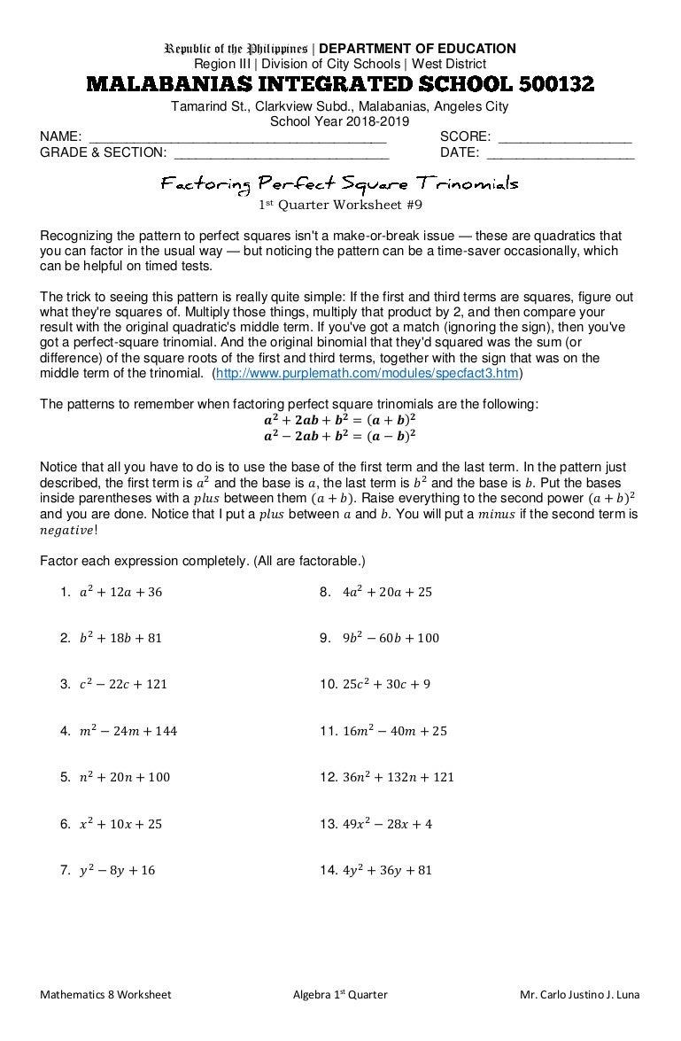 Factoring Perfect Square Trinomials Worksheet