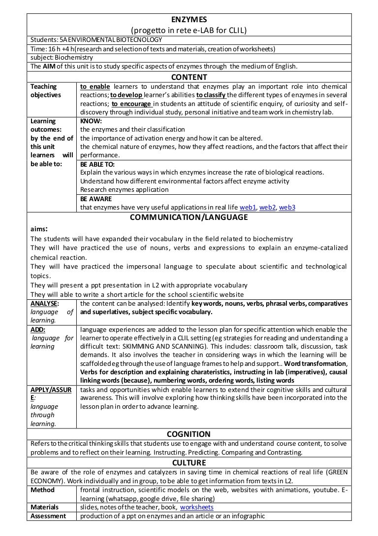 Clil lesson plan about enzymes e lab for clil giuseppe venturi paci robcynllc Choice Image