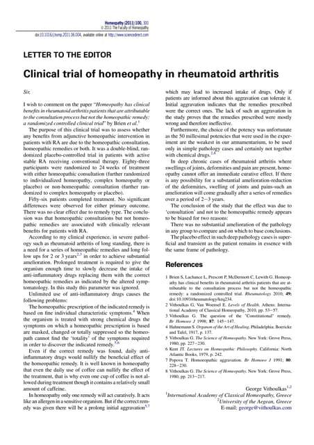 Clinical trial of homeopathy in rheumatoid arthritis