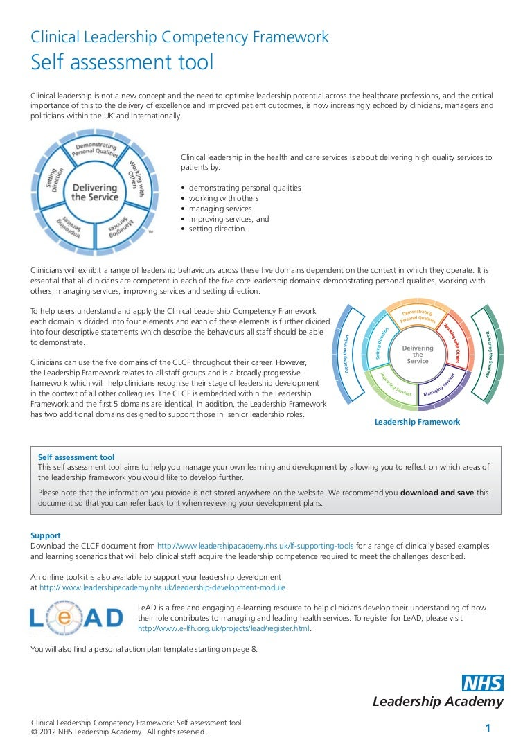 Clinical leadership competency framework selfassessmenttool – Leadership Self Assessment