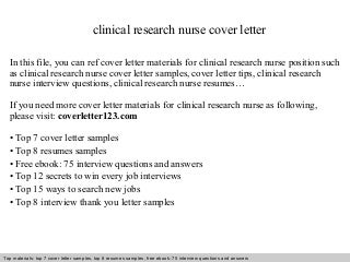 Stunning Clinical Research Nurse Cover Letter Contemporary ...