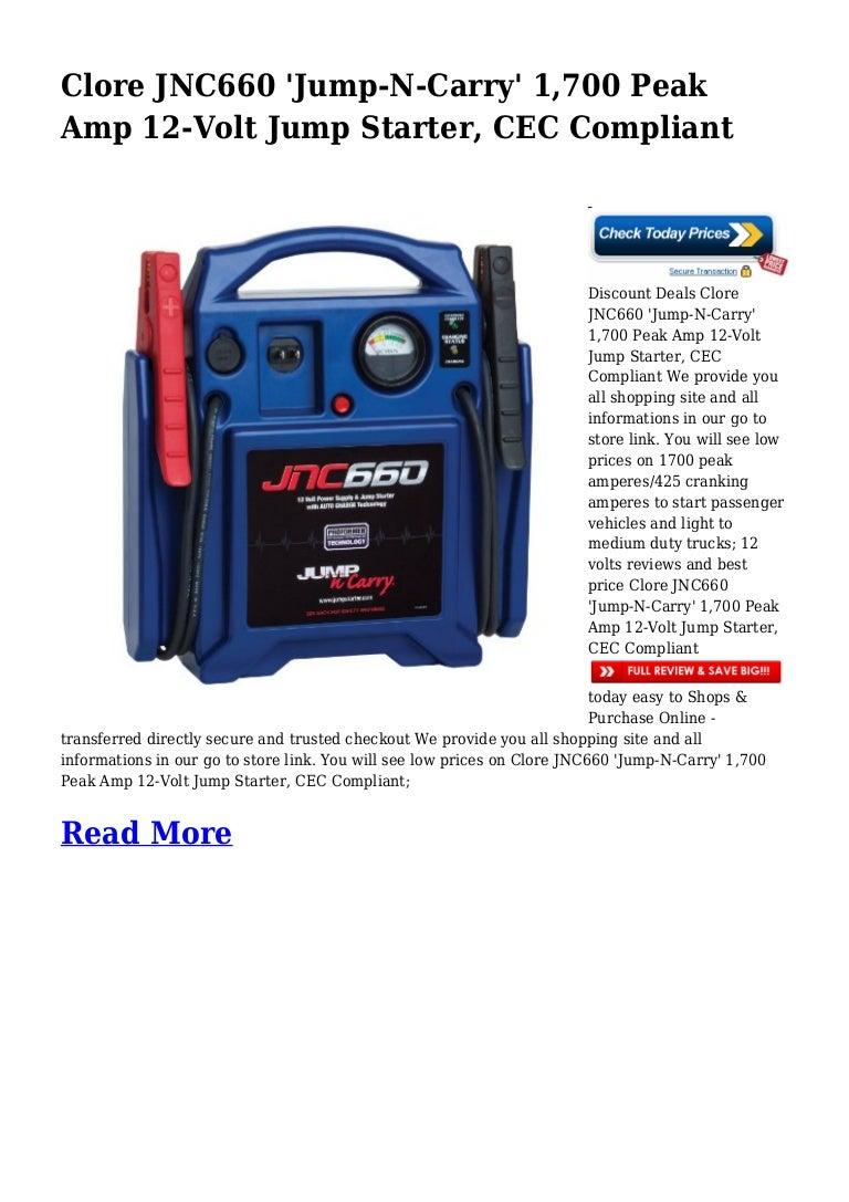 Jump N Carry Jnc660 >> Discount Deals Clore JNC660 'Jump-N-Carry' 1,700 Peak Amp 12-Volt Jum…
