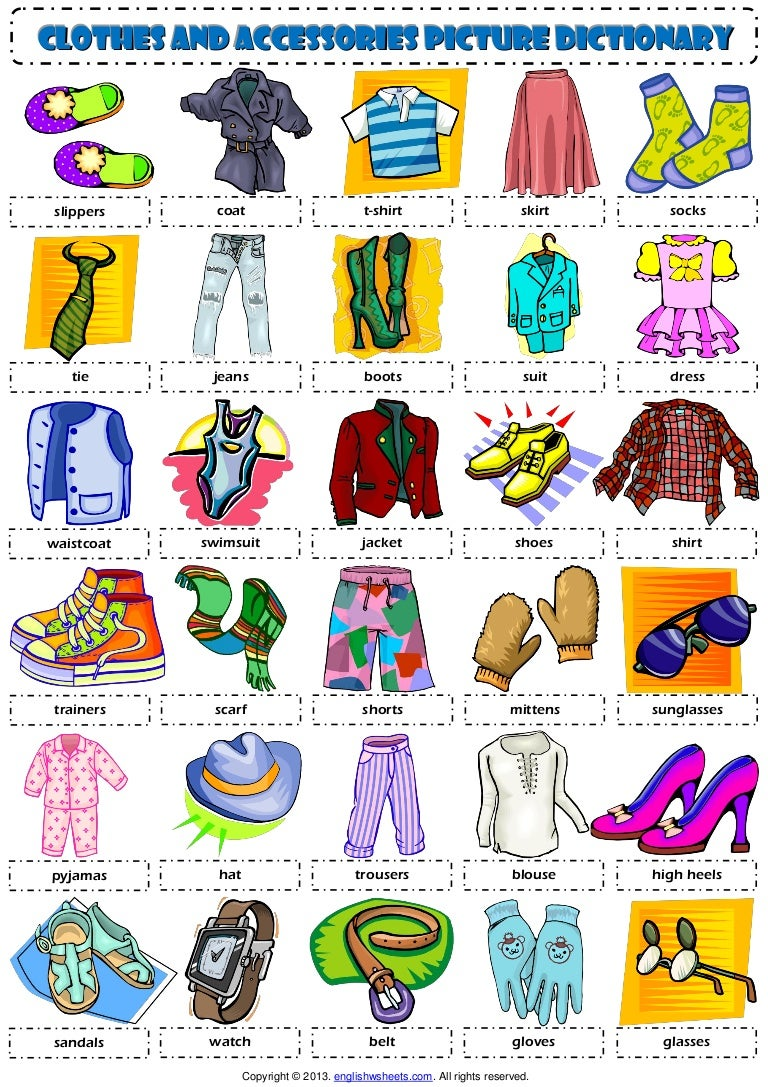 Clothes pictionary 1 poster vocabulary worksheet