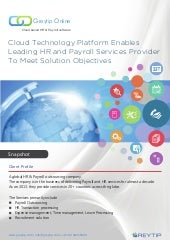 Cloud Technology helps leading HR and Payroll service provider