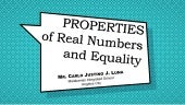 Properties of Real Numbers and Equality - Mathematics 8 (3rd Quarter)
