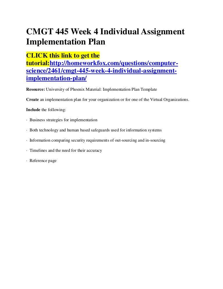 implementation plan template cmgt 445 Cmgt 445 week 4 individual assignment implementation plan resource: implementation plan template create an implementation plan fovirtual organizations.
