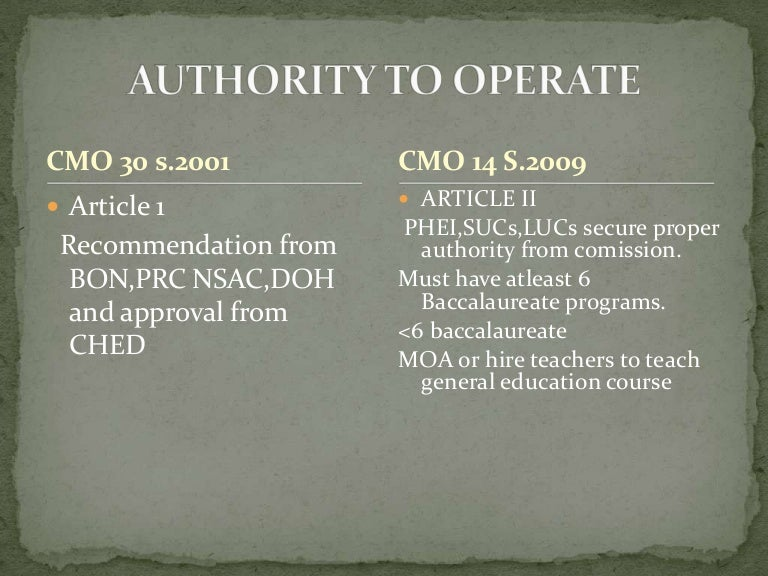 ched cmo 14 Second, note that the grants were not made under ched cmo 2005-01, but ched order no 31, s 1995, which refers to level iv accreditation as accreditation accorded to institutions (see art 2b4), with de la salle university receiving the award in 2001 and the ateneo de manila university in 2004.