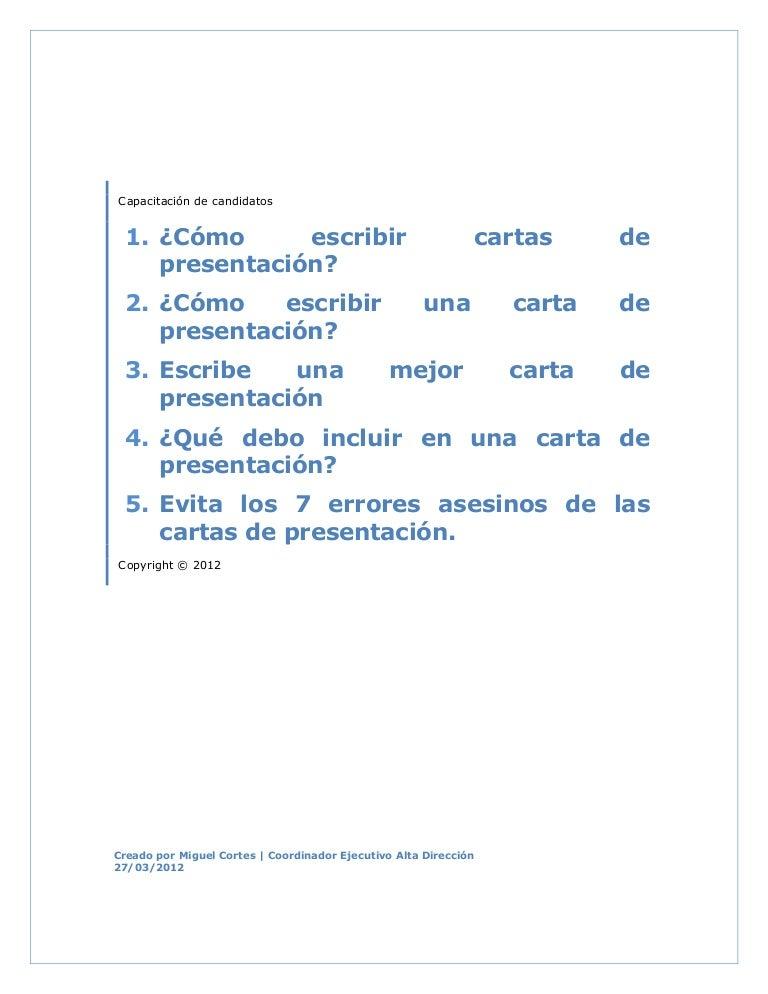 CóMo Escribir Cartas De PresentacióN 2012
