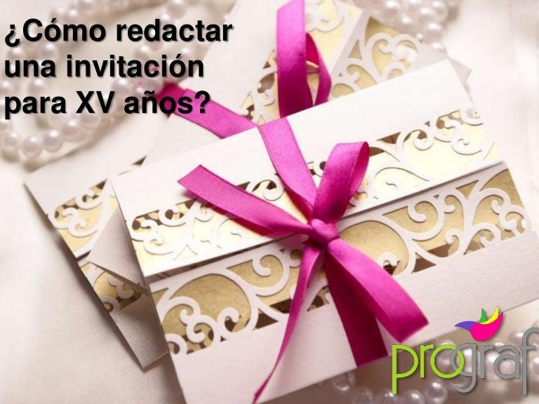 Cómo Redactar Una Invitación De Xv Años