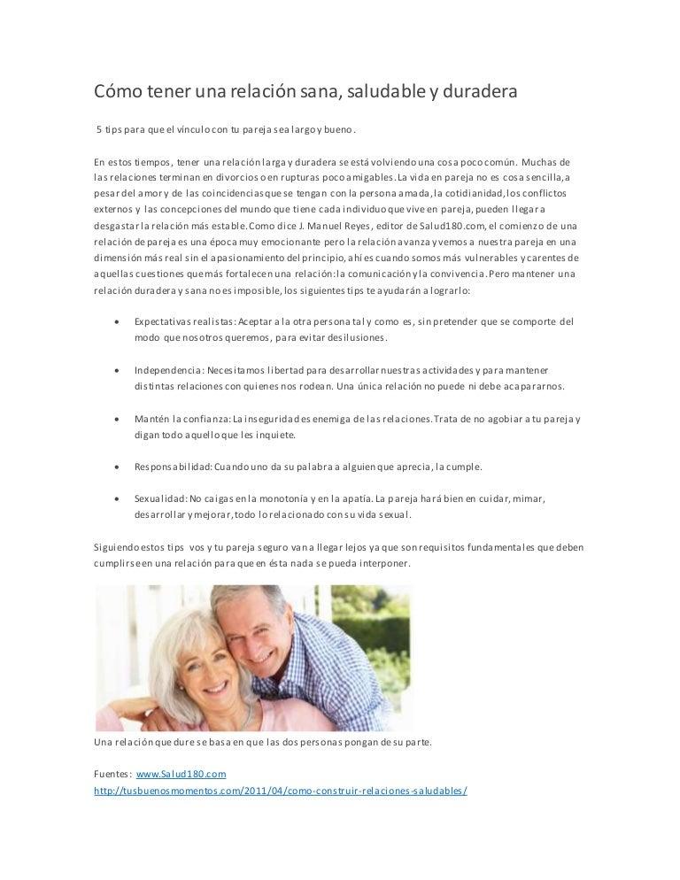 Como llevar una relación de pareja sana