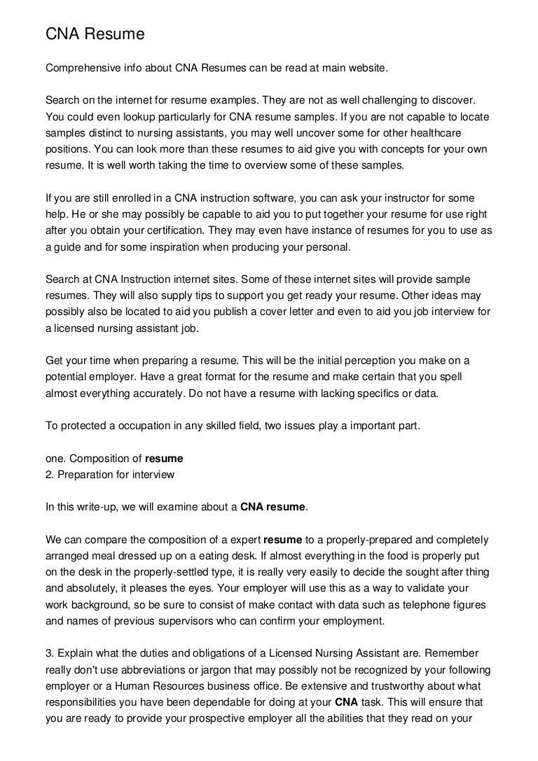 cna resume