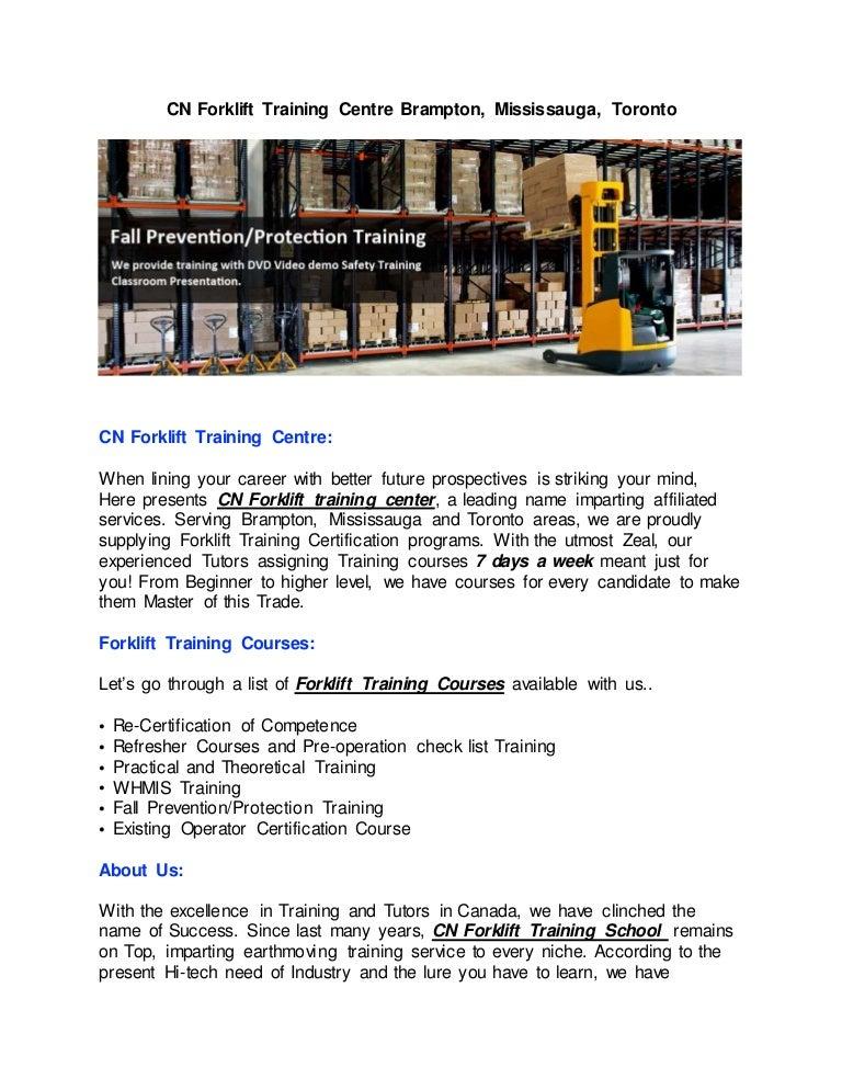 Cn Forklift Training Center Brampton Mississauga Toronto