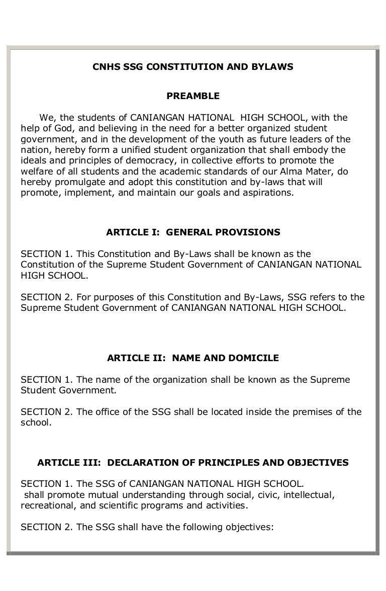 Cnhs Ssg Constitution And Bylaws 1  Church Bylaws Template