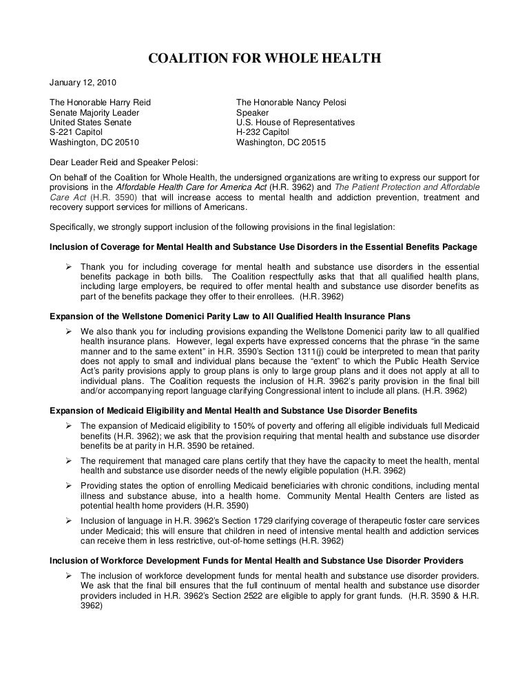 coalition for whole health letter - Benefits Officer Sample Resume